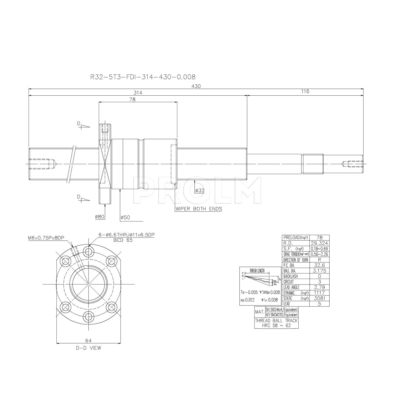 Шариковинтовой привод  HIWIN R32-5T3-FDI-314-430-0.008