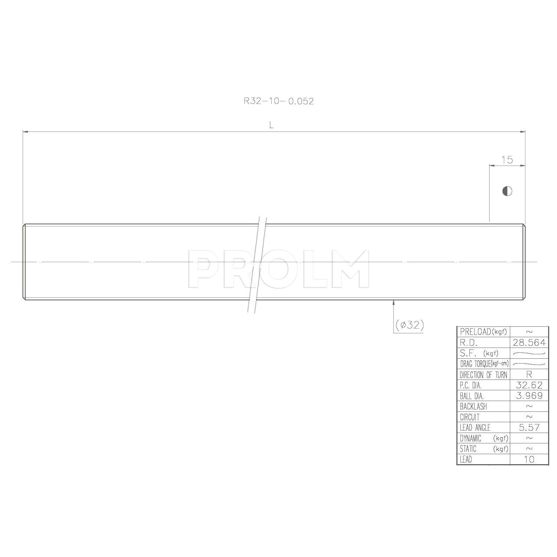 Винт ШВП  HIWIN R32-10-0.05 (R32-10-4500-4500-0,05)