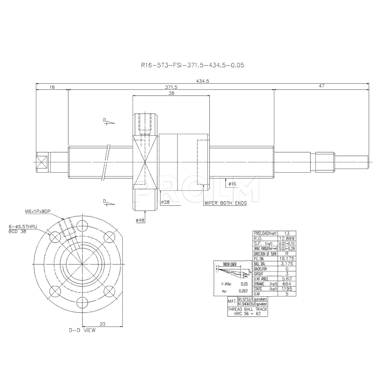Шариковинтовой привод  HIWIN R16-5T3-FSI-371.5-434.5-0.05
