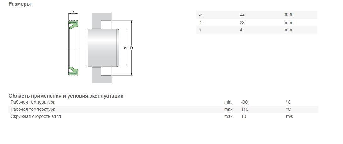 Уплотнение  SKF G 22X28X4